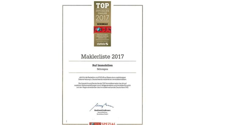 Focus Urkunde 2017 homepage
